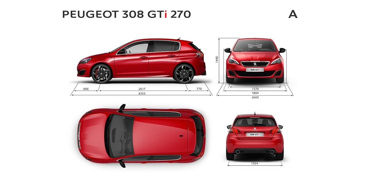 Nuevo 308 GTi by Peugeot Sport Dimensiones Exteriores
