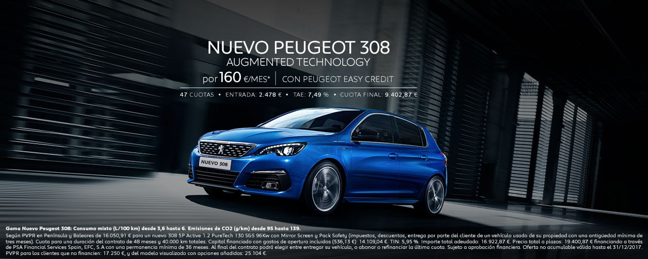 Nuevo Peugeot 308 Augmented Technology Cuotas Diciembre