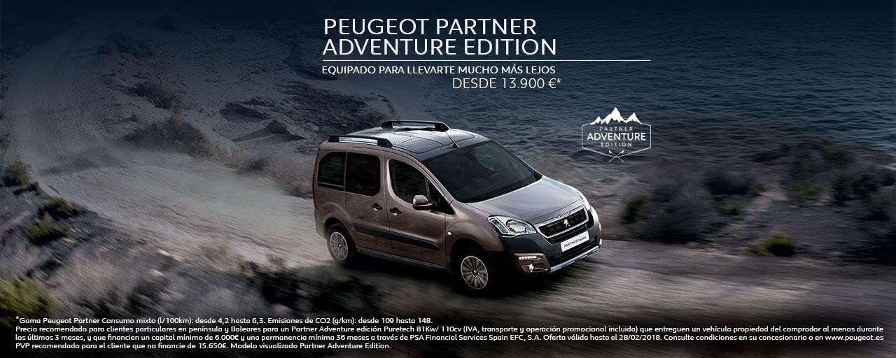 Mainbanner Peugeot Partner Adventure Edition febrero