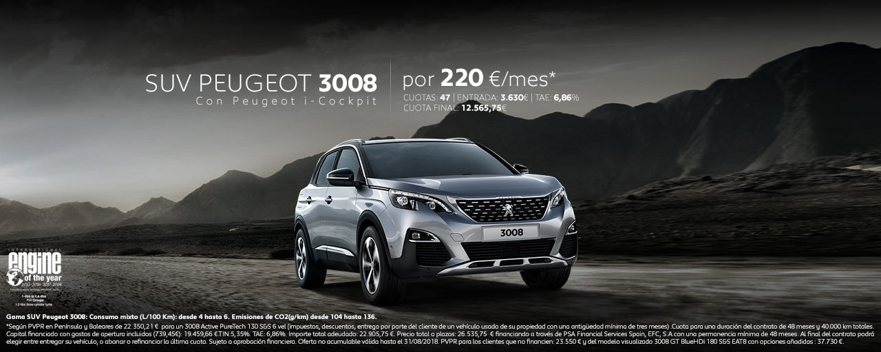 Mainbanner SUV Peugeot 3008 Cuotas Junio 2018